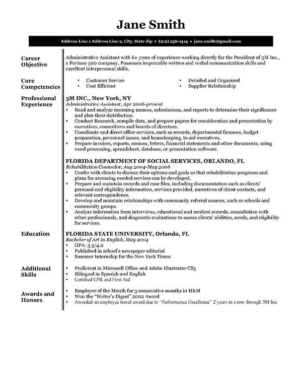 sample resume format  u2013 task list templates