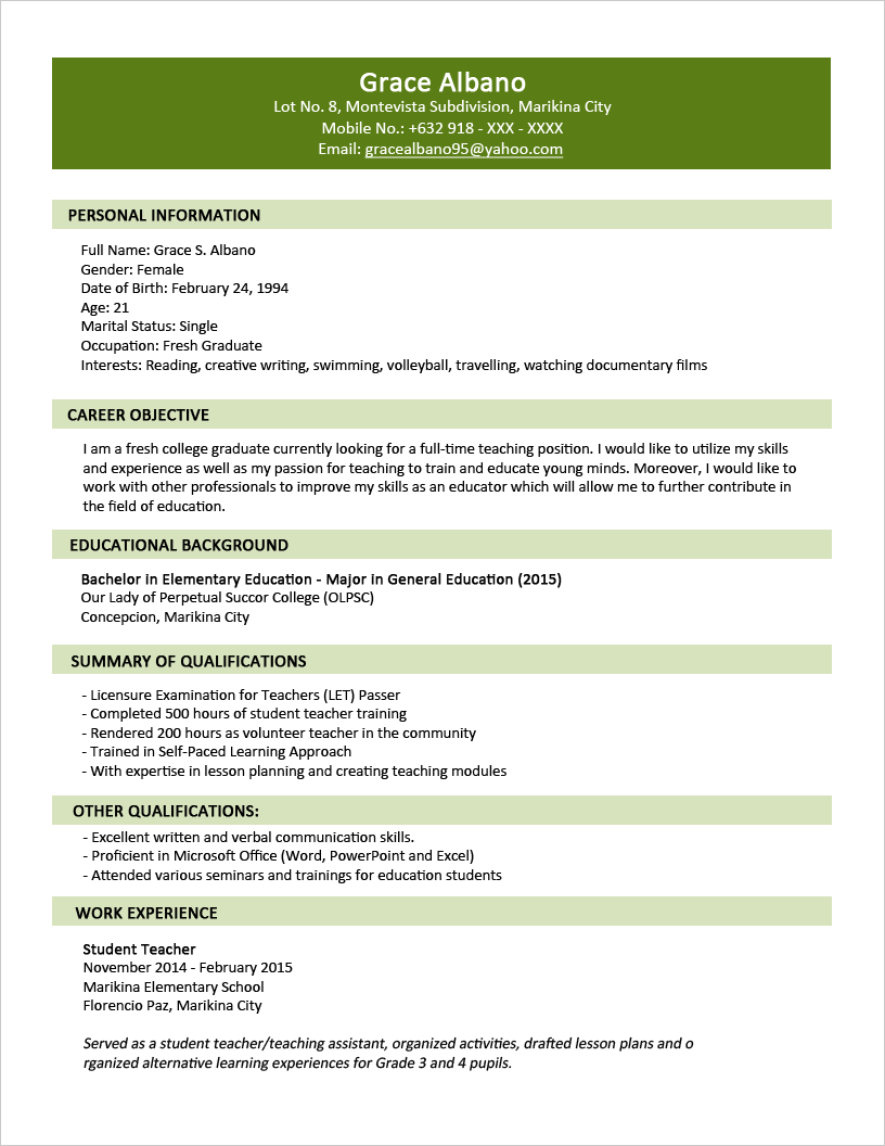 Sample Resume Format for Fresh Graduates (Two Page Format