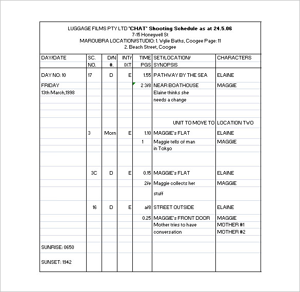 Film Shooting Schedule Template 24+ Free Word, Excel, PDF Format