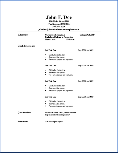 simple resume format in word  u2013 task list templates