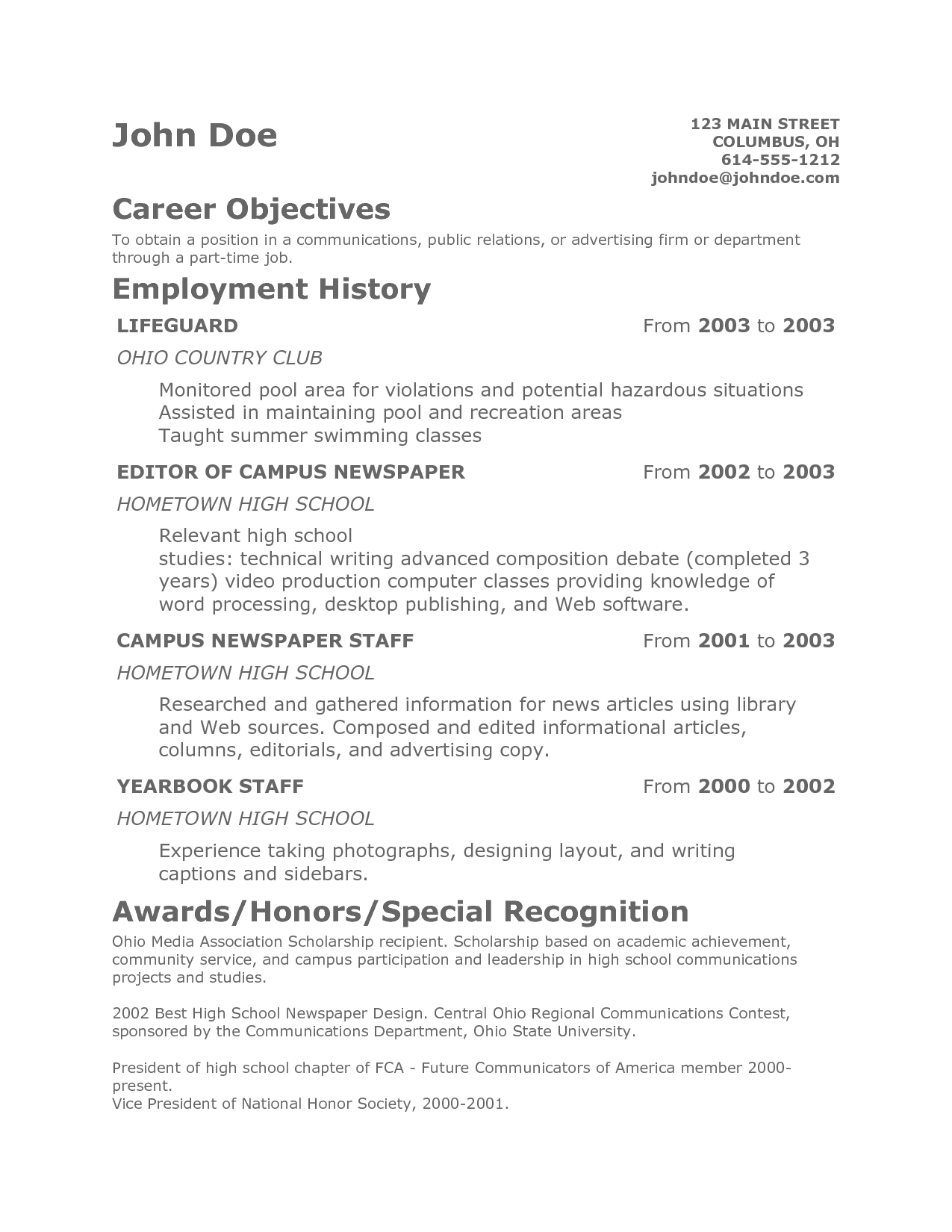 Peaceful Ideas Teenage Resume 11 Teen Sample With Teenage Resume