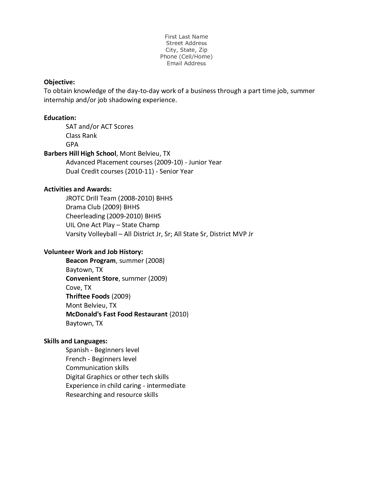 Teenage Resume Template | berathen.Com