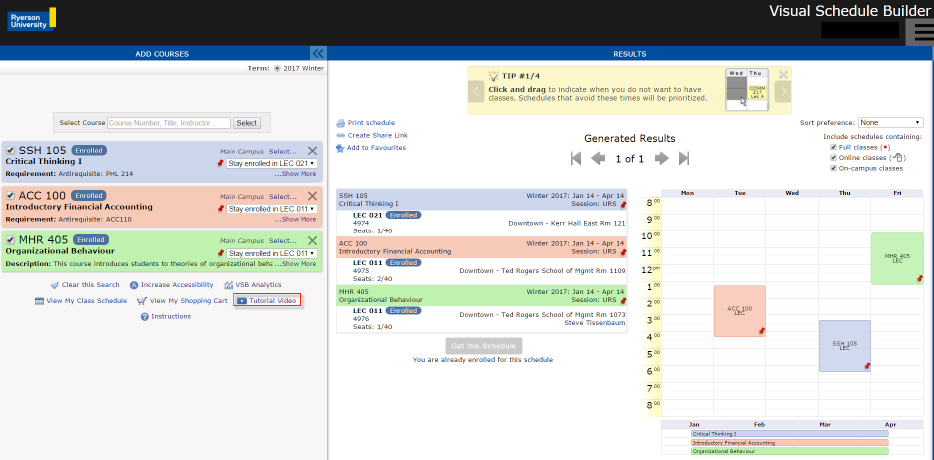 Visual Schedule Builder Registrar Ryerson University