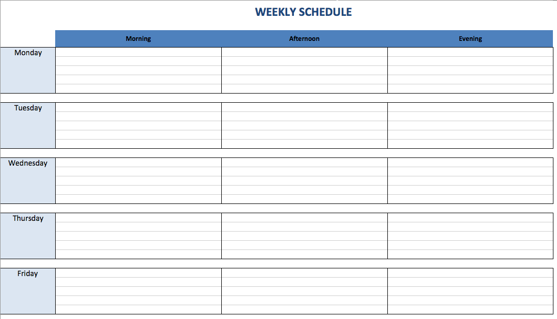 weekly schedule maker task list templates. Black Bedroom Furniture Sets. Home Design Ideas