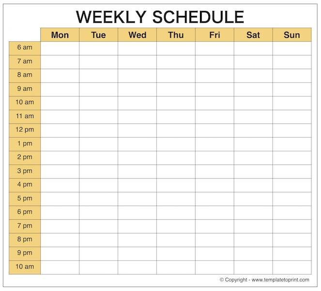 weekly schedule maker template | weeklyplanner.website