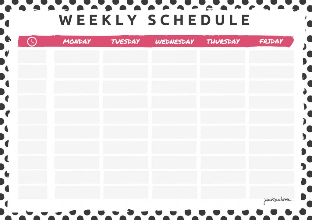 Weekly Schedule Planner Free Printable Template | Online PDF Format