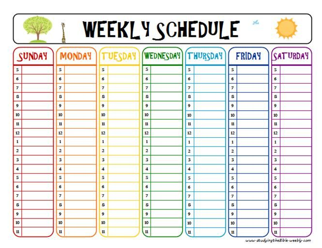 Weekly Schedule Printable