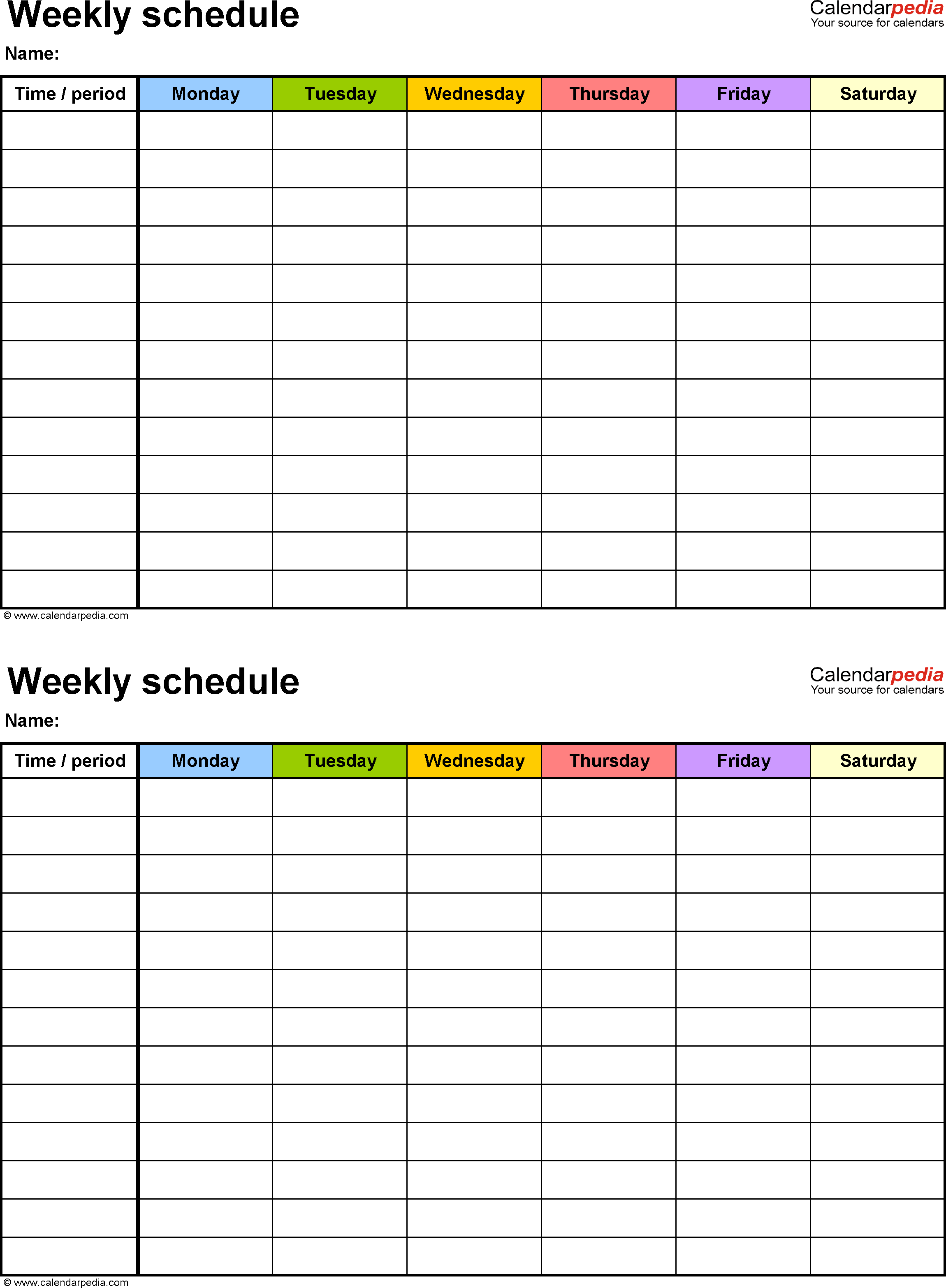 Weekly Schedule Template 16+ Free Word, Excel, PDF Download