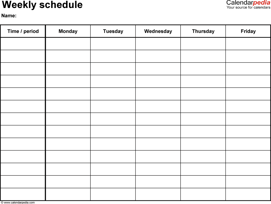 Weekly Work Schedule Template 9+ Free Word, Excel, PDF, Format