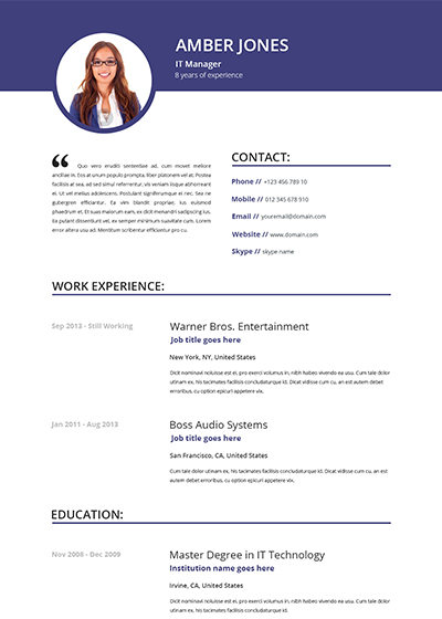 Resume Templates With Photo Gfyork.com