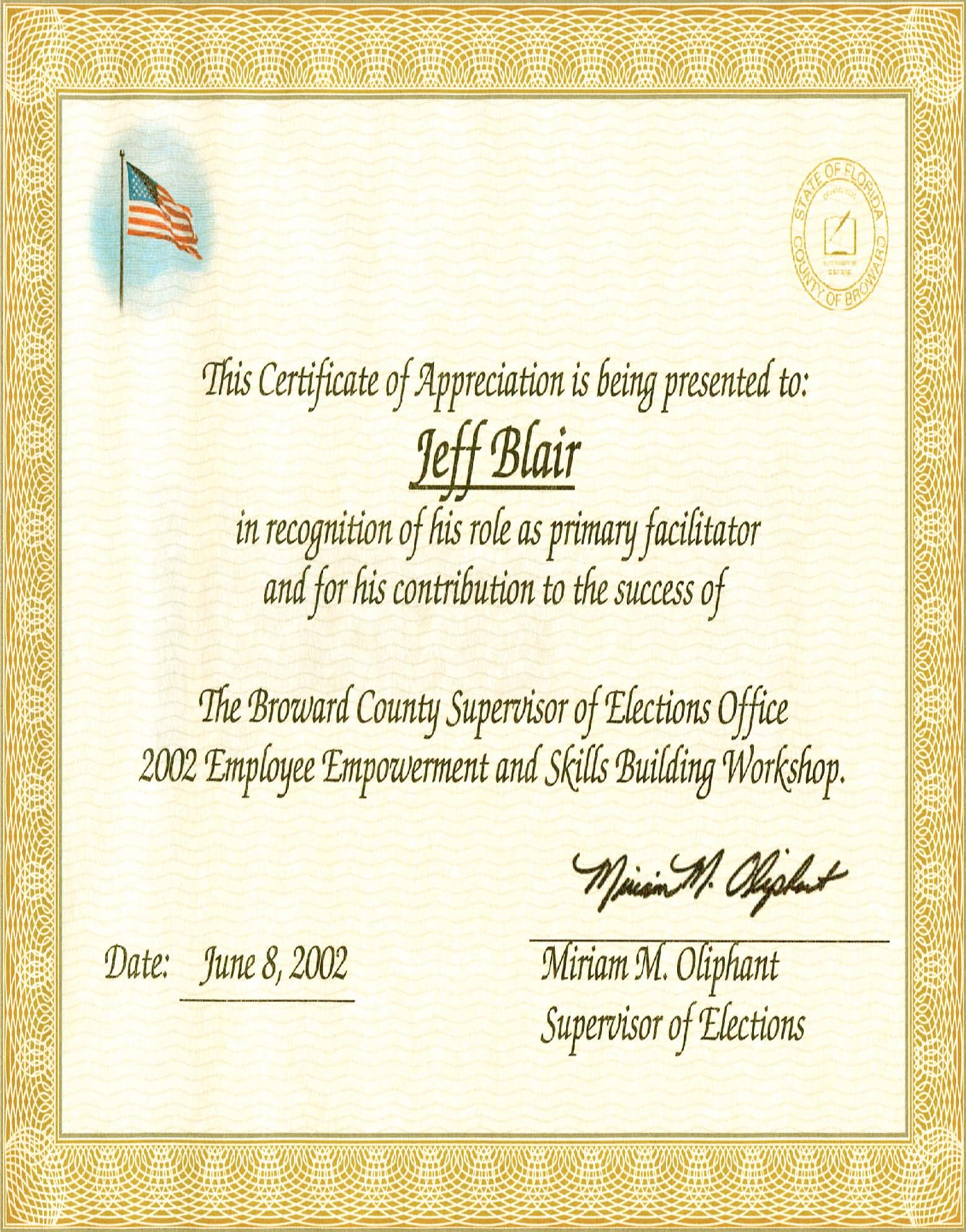 Broward County Supervisor of Elections Certificate of Appreciation