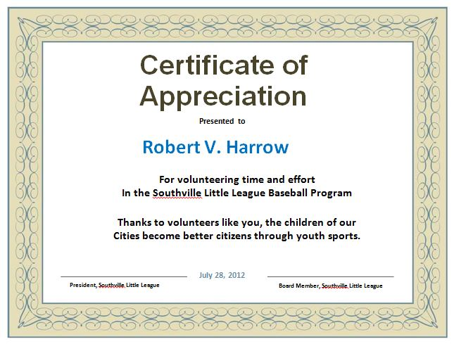 Certificate of Appreciation sheet printable