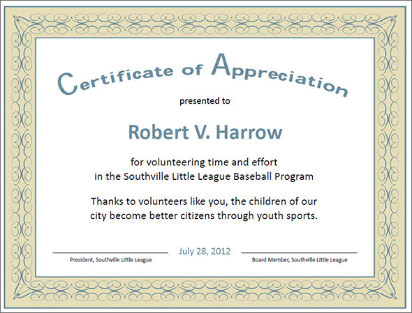 Certificate of Appreciation Template grey border