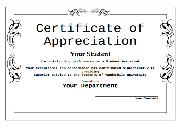 free award certificate templates for students - certificate of appreciation for students task list templates