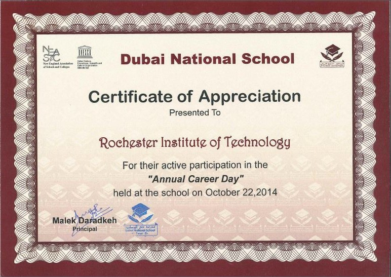 RIT Dubai Receives Certificate of Appreciation from Dubai National