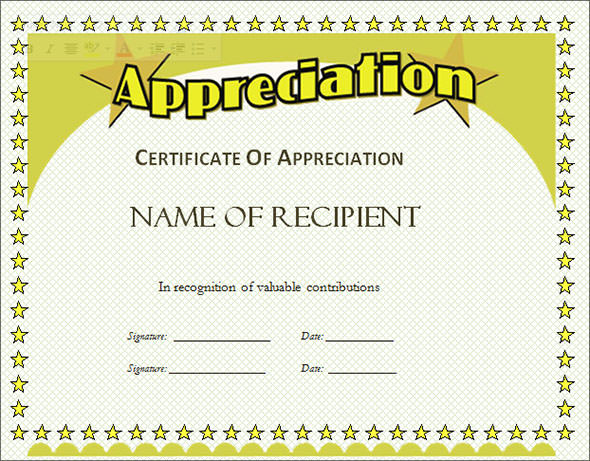 5+ free certificate of appreciation template downloads | sample of