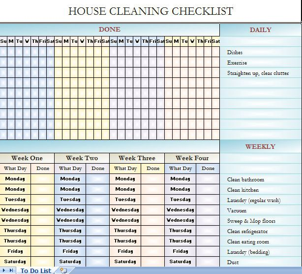 cleaning checklist template excel