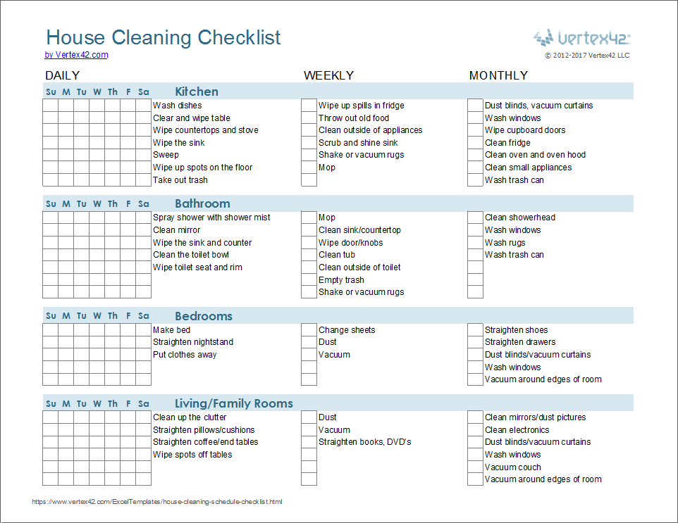 This is an image of Zany Free Printable Cleaning Schedule Template