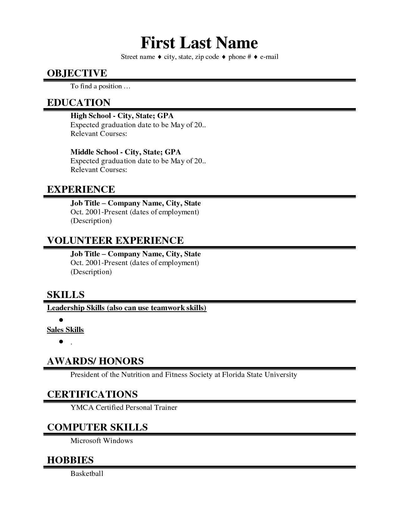 Resume Examples. resume template for college student internships