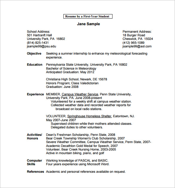 Ten Great Free Resume Templates Microsoft Word Download Links: College Student Resume Template Microsoft Word