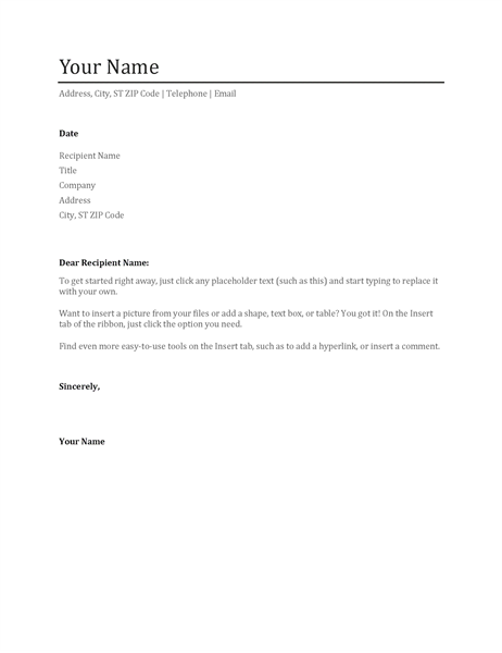 cover letter template word doc