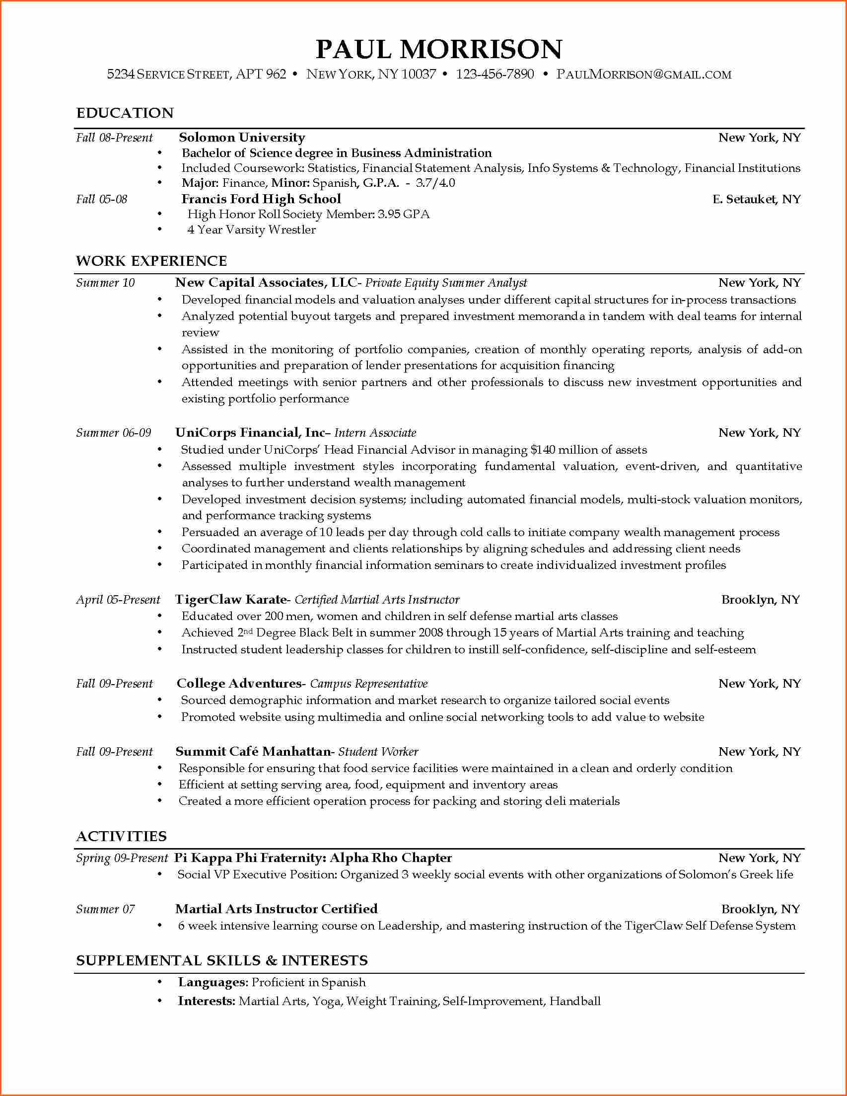 Current College Student Resume | berathen.Com