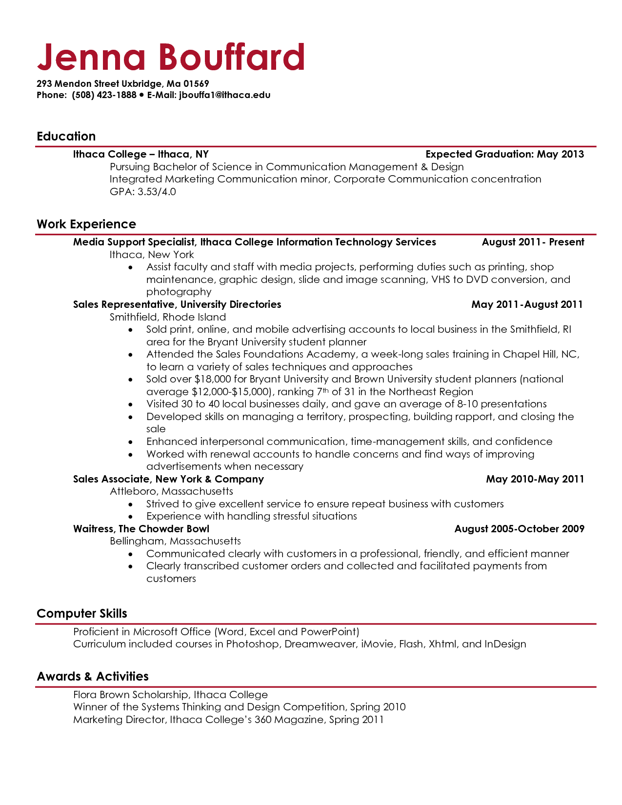 Current College Student Resume   berathen.Com