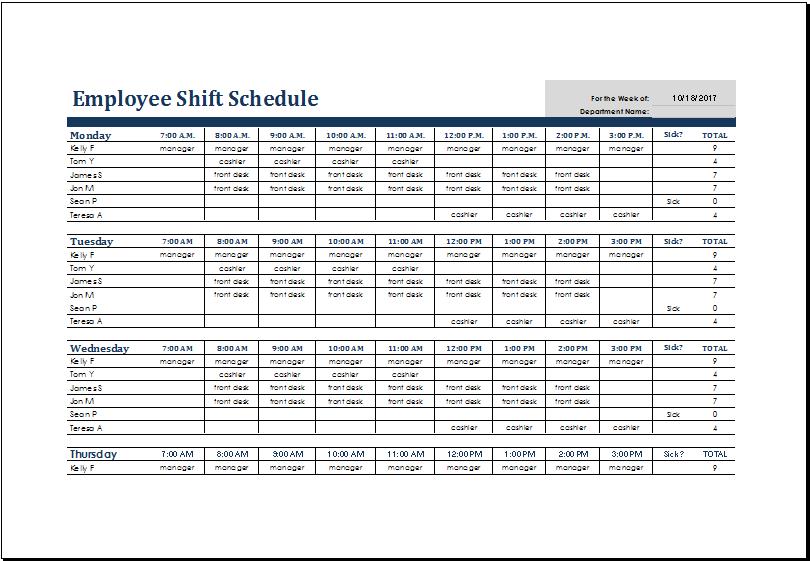 employee shift schedule template task list templates. Black Bedroom Furniture Sets. Home Design Ideas