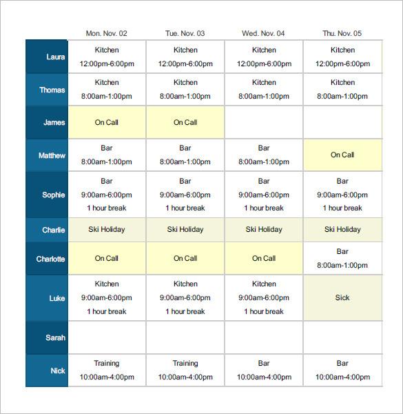 Employee Shift Schedule Schedules Templates