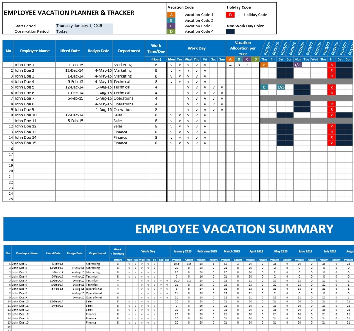 Employee Vacation Tracker & Dashboard using MS Excel