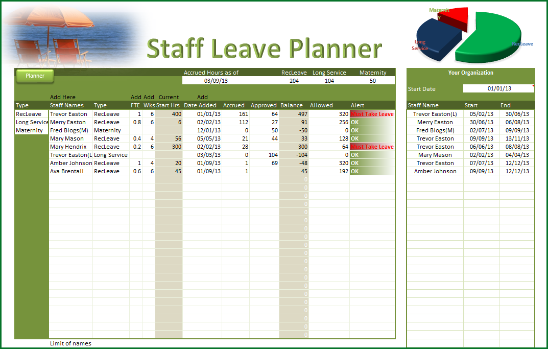Employee Vacation Planner Template Excel