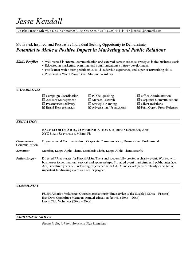 Entry Level Marketing Resume | berathen.Com