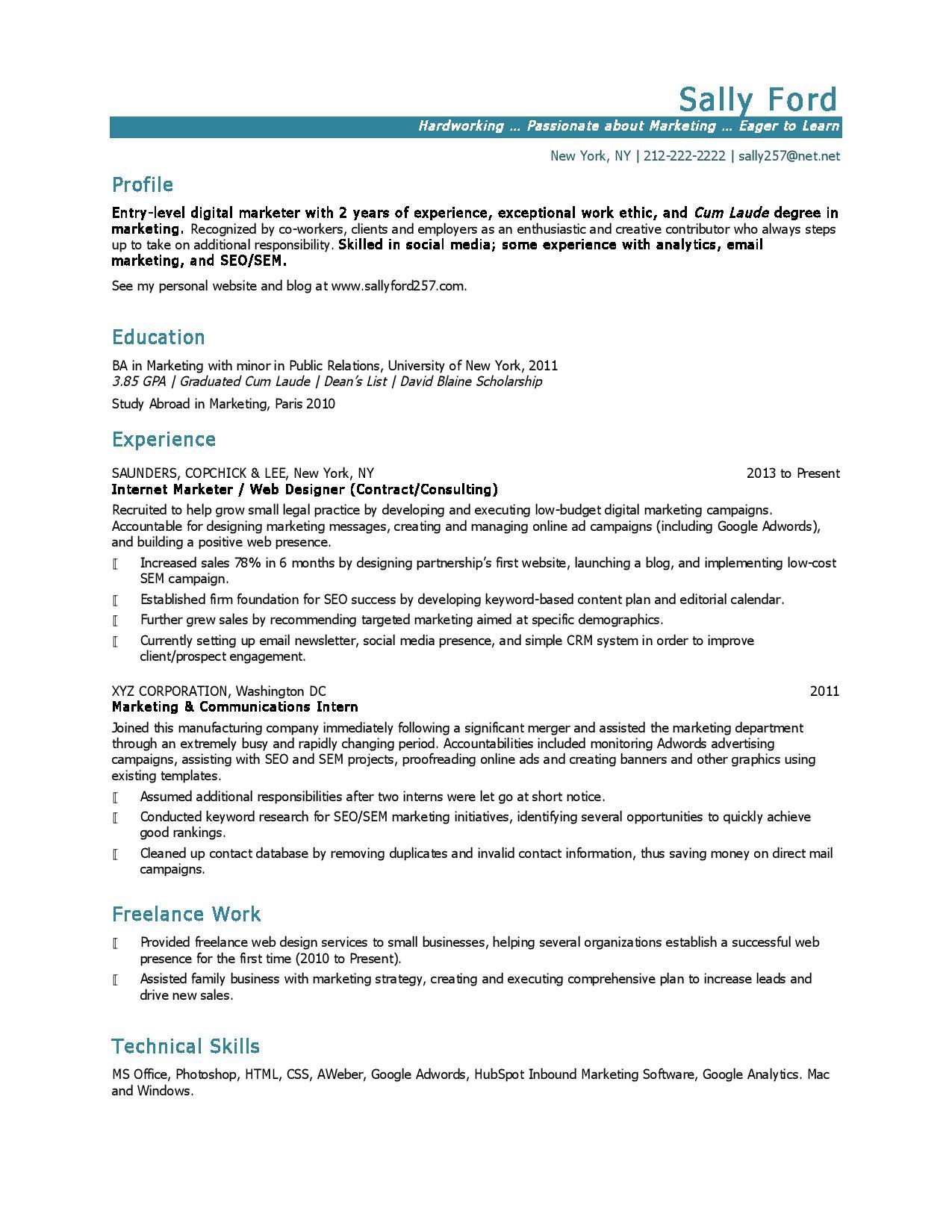 entry level marketing resume
