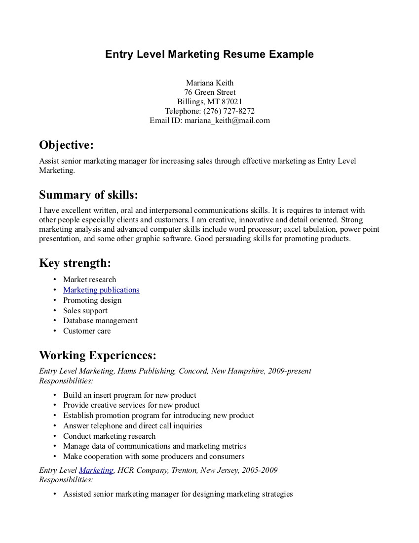 Entry Level Marketing Resume Samples | Entry level Sales and