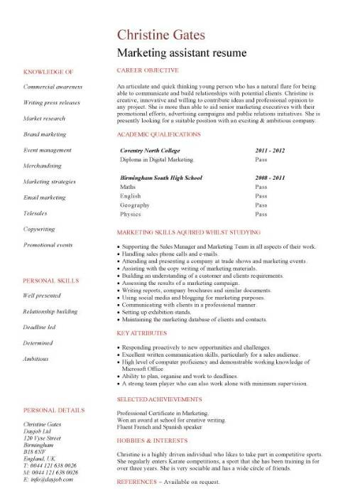 entry level marketing resume