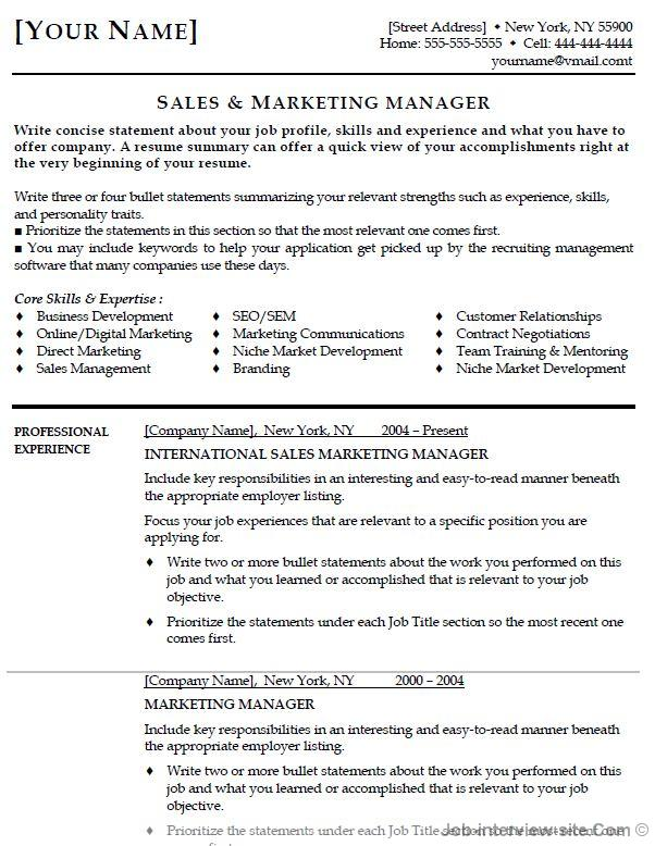 Sample Entry Level Marketing Resume sample resume format