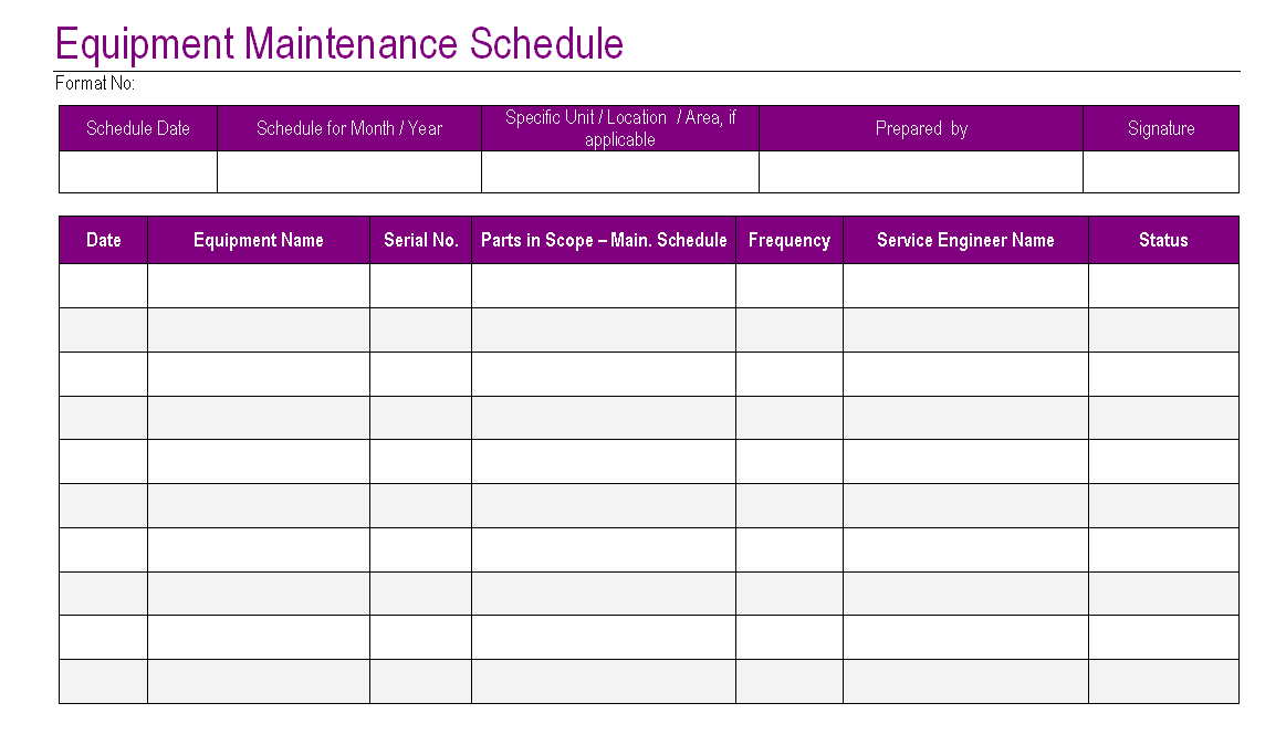 Equipment maintenance schedule template excel task list for Equipment replacement plan template
