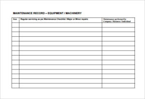 maintenance program template