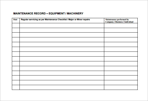 Equipment Maintenance Schedule Template Excel | task list