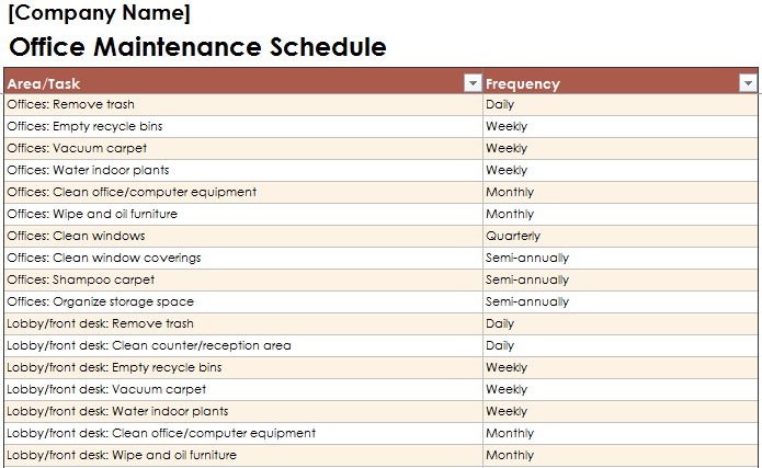 Office Maintenance Schedule Excel Template Free