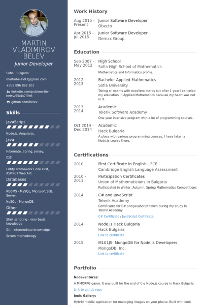 Software Developer Resume samples VisualCV resume samples database