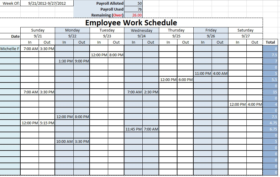 Monthly Employee Schedule Template Excel | task list templates
