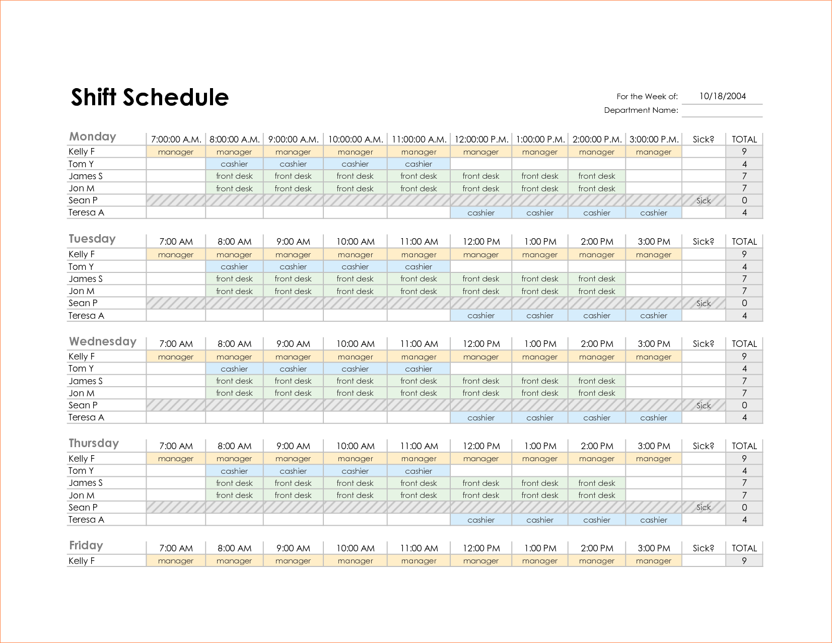 Monthly Employee Schedule Template Excel - task list templates