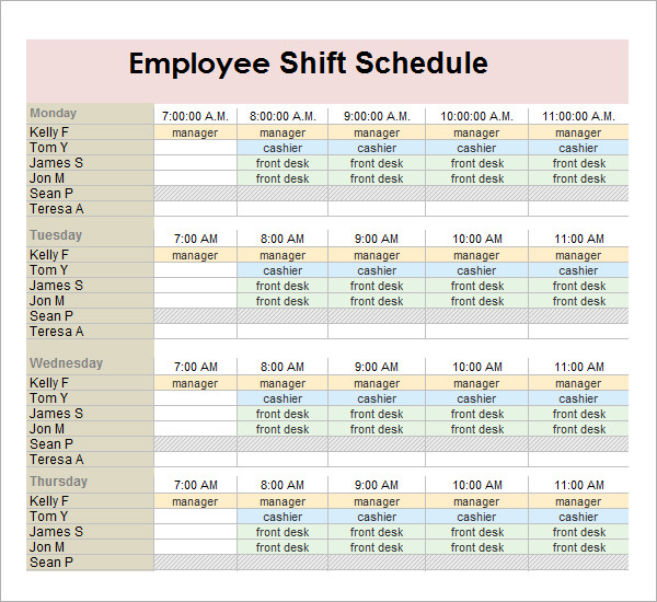 Sample Employee Schedule 5+ Documents In PDF, Word