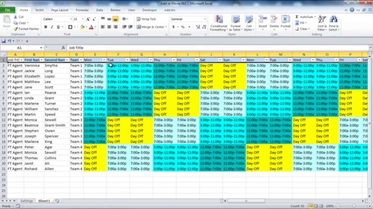 Creating your Employee Schedule in Excel YouTube
