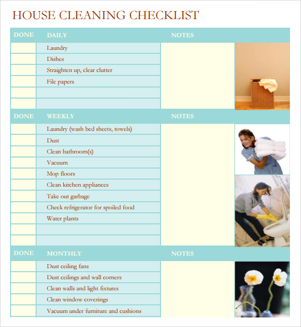 This is a photo of Sassy Professional House Cleaning Checklist Printable