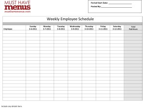 Restaurant Schedule Template 2 Free Excel, Word Documents