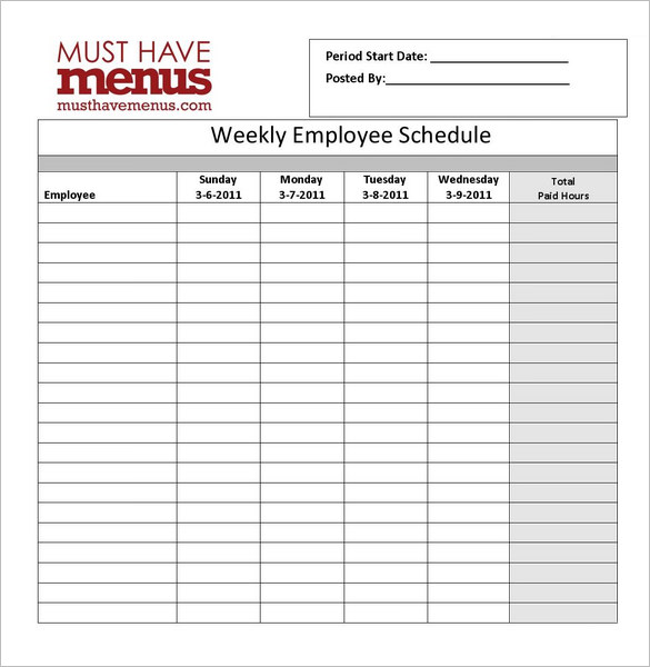 Weekly Employee Schedule Form | Restaurant Management Tools