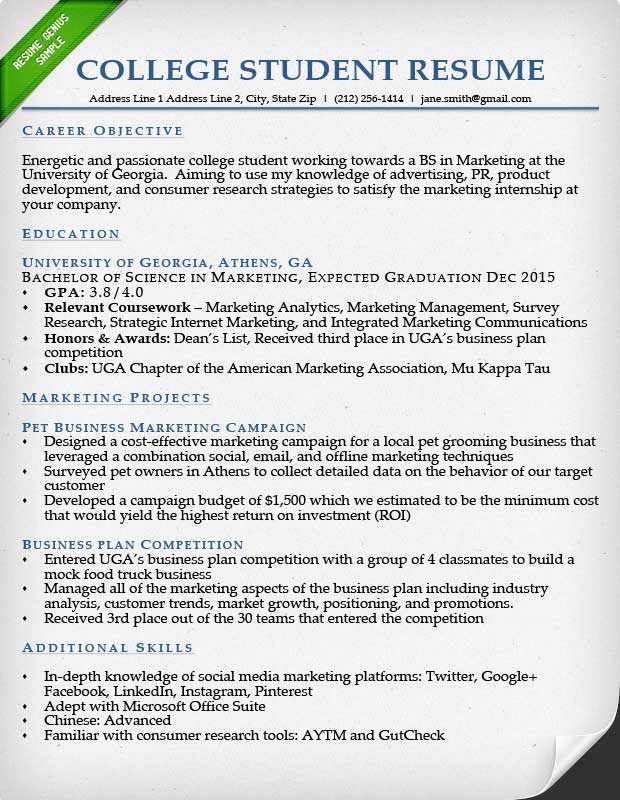Resume Template College Student | Resume Badak