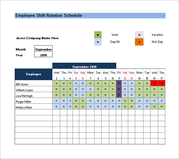 rotating shift schedule template